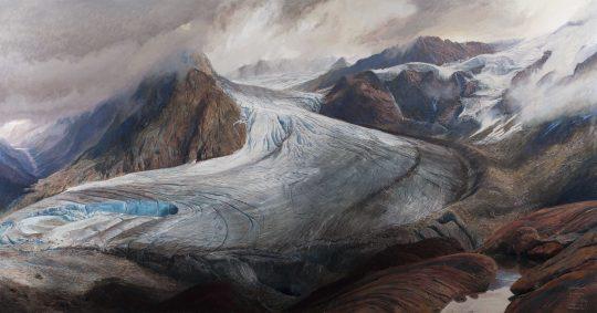 Ledovce na Wildspizte, olej, plátno, 155 x 290 cm, 2015
