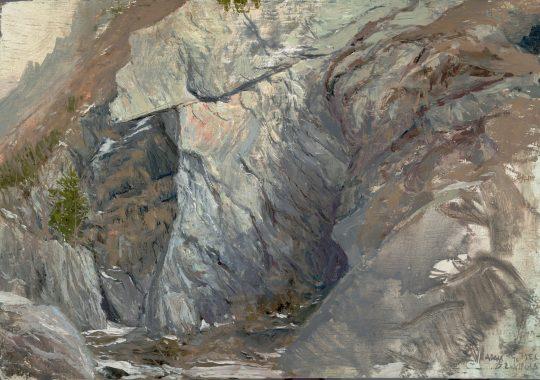 Alpy, Virgen, olej, dřevo, 25 x 14 cm, 2015