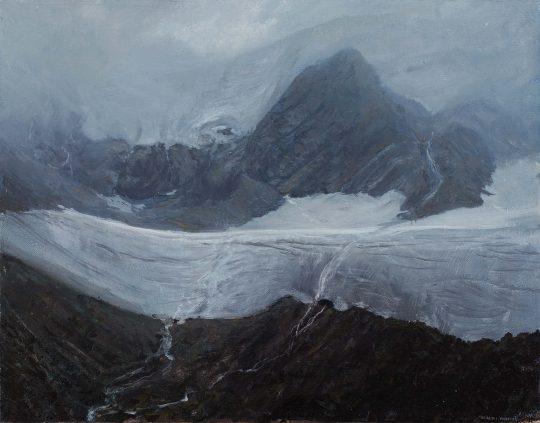 Wildspitze, mlha, 35 x 40 cm, olej, plátno, 2015