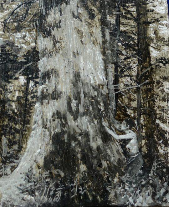Beskydské pralesy, olej, dřevo, 25 x 20 cm, 2014