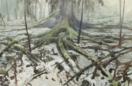 Kořeny, olej, plátno, 200 x 300 cm, 2016 - 2017