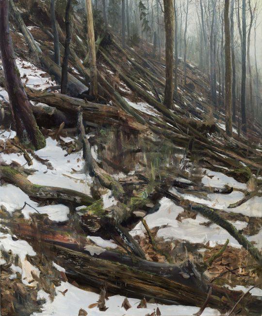 Tlení, hnití, spalování 2 - Hřebeč, olej, plátno, 160 x 130 cm, 2017