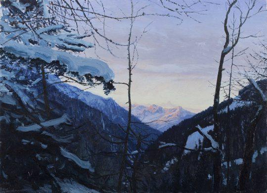 Kals am Grossglockner - šírání, olej, plátno, 40 x 50 cm, 2016