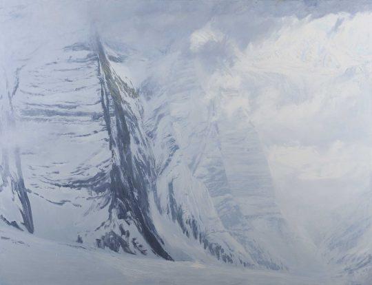 Glockner - běl, olej, plátno, 170 x 220 cm, 2016