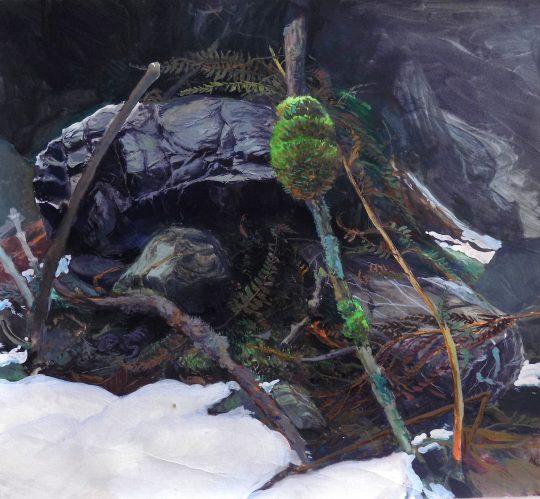 Alpensalamander, kvaš, 40 x 45 cm, 2014