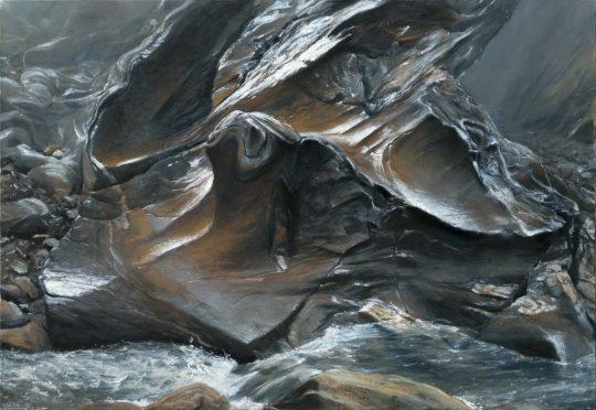 Taschachschlucht 3, 2019, olej na plátně, 90x130cm