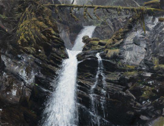 Vodopád v Pitztalu, 2019, olej na plátně, 50x65cm