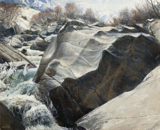 Žulový balvan -Pitztal, 2019, olej na plátně, 40x50 cm