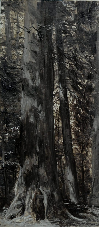 Beskydské pralesy, olej, dřevo, 40 x 15 cm, 2014
