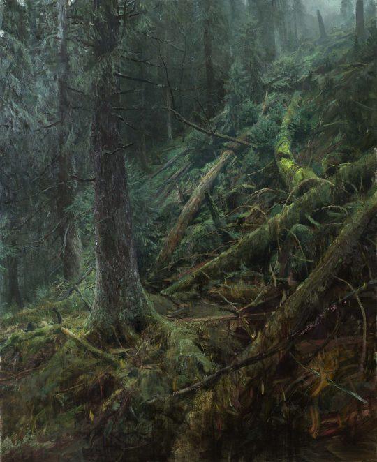 Tlení, hnití, spalování 1 - Jelení důl, olej, plátno, 160 x 130 cm, 2016