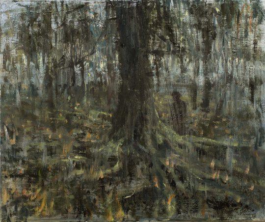 Tlení - Duchové ohně, olej, plátno, 25 x 30 cm, 2016