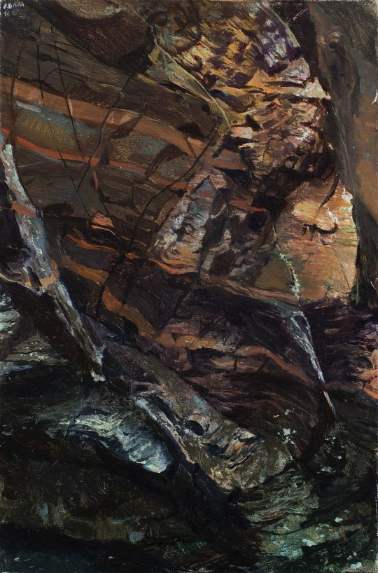 Po proudu (Doubrava), olej, plátno, 30 x 20 cm, 2016