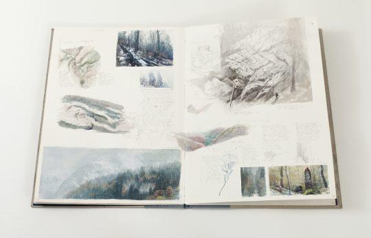 Mapa hor, vázaný knižní blok (akvarel, tužka), 100x70cm, 2018