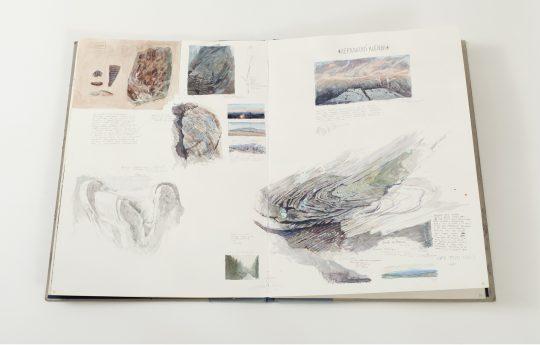 Kniha/atlas/deník, akvarel, tužka, bílá tuž, vázaný knižní blok - otevřený rozměr 61x 90 cm, 40 stran, 2017 -18