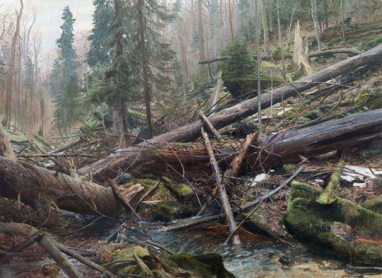 Prales nad Hučavou, olej na plátně,160x200cm, 2018