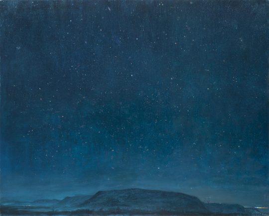 Nebe nad Hřebčí, olej na plátně, 160x200cm, 2018