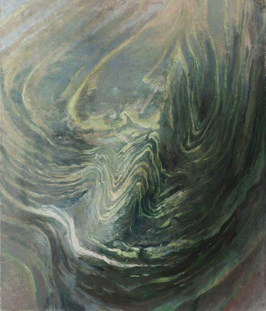 Vrásnění - amfibolit, 60x95cm, olej na plátně, 2017
