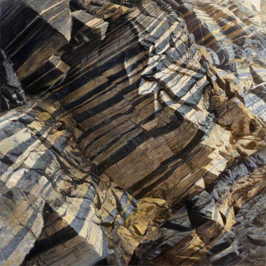 Gabro - Žleb, olej na plátně, 90x90cm, 2020