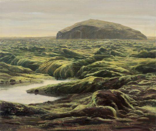 Island - lávové pole, olej na plátně 50x60cm, 2020