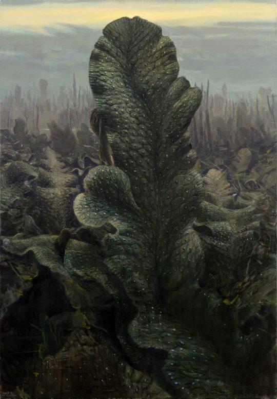 Játrovka Conocephalum conicum, olej na plátně, 130x90cm, 2019