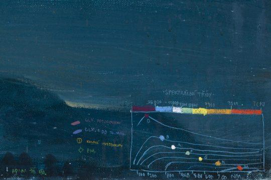 Nebe nad Hřebčí (detail - tabulka spektrálních tříd), olej na plátně, 160x200cm, 2018