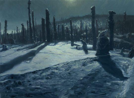 Noc na Třístoličníku, 2019, olej na plátně, 40x50 cm