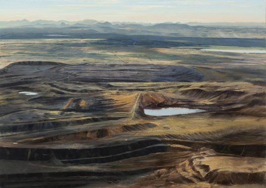 Hnědouhlená pánev, olej na plátně, 90x130 cm, 2020