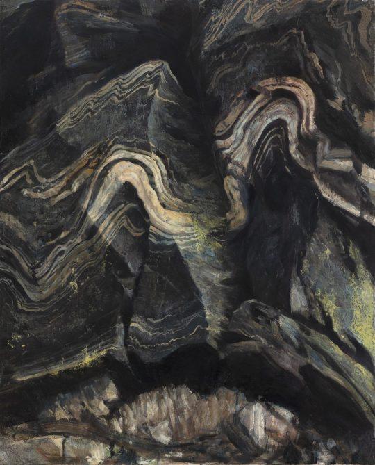 Vrása v mylonitech, olej na plátně, 50x40 cm, 2020