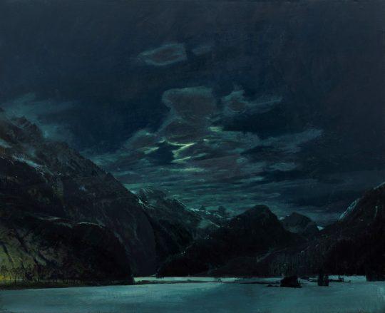 Oetztal v měsíčním světle, 140 x 160cm, olej na plátně, 2019