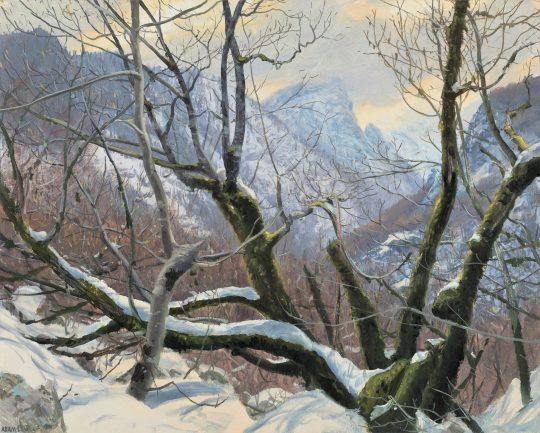 Makaze v jarním sněhu, olej na plátně, 40x50cm, 2021 x